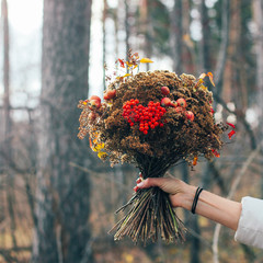 The autumn winter forest dried bouquet in woman hands, diy