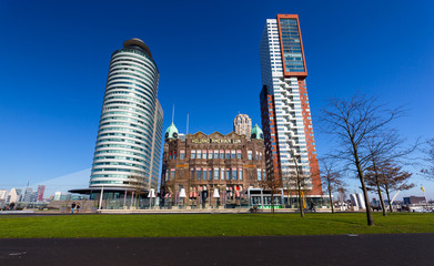 Old and new buildings in Rotterdam
