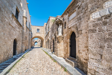 Empty street of knights (Ippoton) in City of Rhodes (Rhodes, Greece).