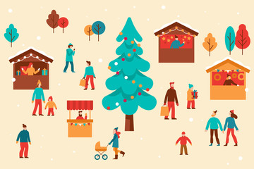 Vector illustration in flat simple style -  Christmas greeting card, banner, poster with people at festival seasonal market