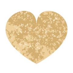 Beige heart. Vector illustration. Valentines day. Grunge paint texture