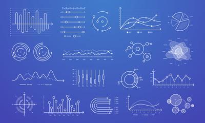 Wall Mural - Linear graph chart. Thin line charts, modern statistics graphs and circular bar progress presentation diagram isolated vector set