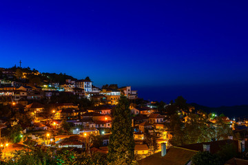 Pedoulas cypriot village streets and houses, night panorama, Troodos, Nicosia District, Cyprus