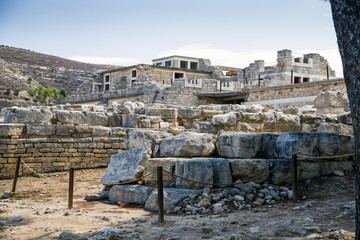 Knossos palace on the island of Crete in Greece. Ancient ruins of the burning part of the Archaeological Museum in Heraklion.