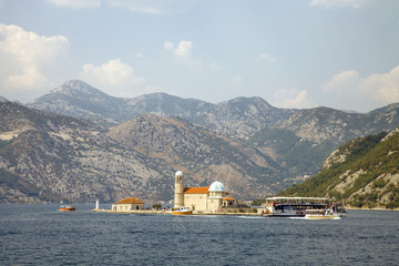 Church of Our Lady of the Rocks. Bay of Kotor, Montenegro. The island with a church on the Adriatic