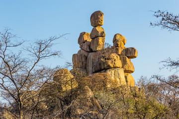 Mother and Child balancing rocks in Matobo National Park, Zimbabwe.