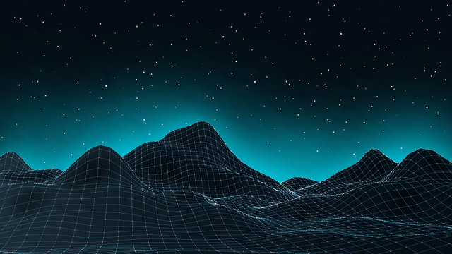 3d connection background. Wireframe topography landscape. Music equalizer concept. Blockchain and crypto currency technology background. Vector illustration