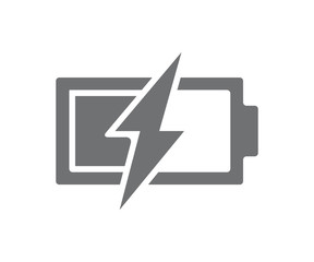 Vector power battery with lightning bolt icon. Half charged accumulator symbol and sign illustration on white background