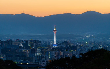 Wall Mural - Kyoto city view in sunset, with Kyoto tower