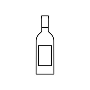 Wine bottle outline icon, modern minimal flat design style, vector illustration.