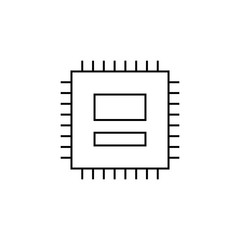 Computer chip isolated linear icon for websites minimalistic flat design