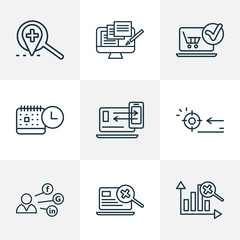 Optimization icons line style set with local search, targeting, events calendar and other connection