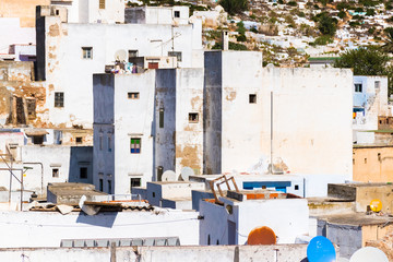 Beautiful view of white color medina o the Tetouan city, Morocco in Africa