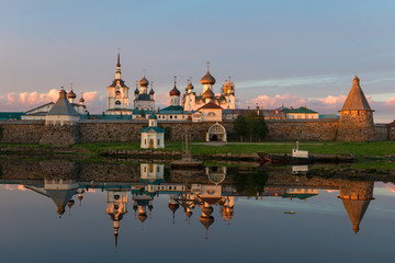 View on Solovetsky Monastery from the Bay of well-being, Russia. Solovetsky Monastery is on the UNESCO's World Heritage List.