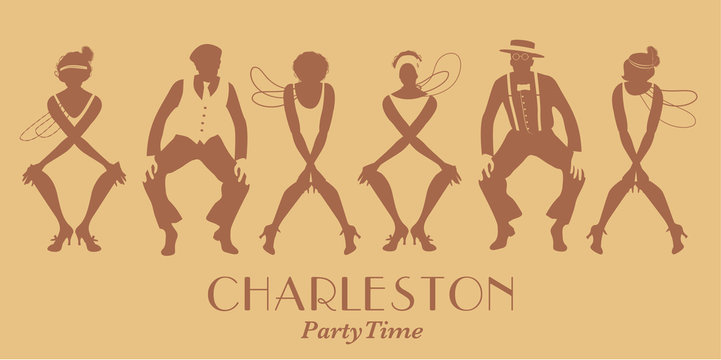 Silhouettes of four flapper girls and two man wearing retro clothes dancing Charleston. Vector Illustration