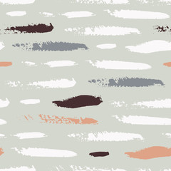 Seamless pattern with spots, stripes, circles, strokes painted with ink and mascara. Background for scrapbooking, paper, textiles. Vector illustration.