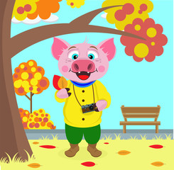 Funny pig pictures of leaves in autumn Park. Vector illustration on the theme of autumn.