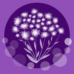 Nice flower bundle in circle composition on trendy violet background. Cute bunch of white small flowers, vector decoration