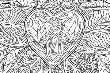 Beautiful coloring book page with heart shape