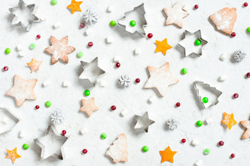 Christmas pattern of various sweets on the white textured background