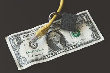 The cost of cyber security in the USA concept image consisting of dollar note, ethernet cable and padlock.