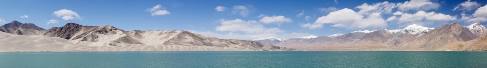 Mega panorama of sand dunes at Bulunkou River (Karakorum Highway, Xinjiang, China)