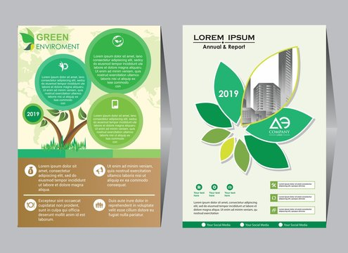 co brochure design vector template. Corporate poster with green leaves