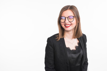 Fashion and people concept - Close up portrait of young smiling woman in glasses with red lips on white background with copy space