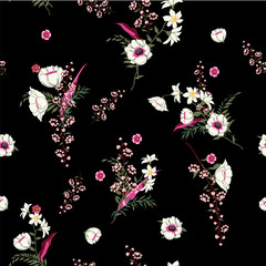 Seamless Pattern wind blow flowers,  Isolated on black color