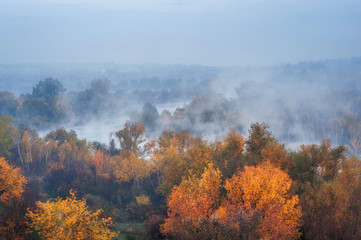 amazing aerial view of  blue foggy river and colorful forest on sunrise. autumn landscape
