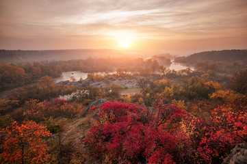 Foto op Plexiglas Zalm amazing panoramic view of blue foggy river and colorful forest on sunrise. autumn landscape
