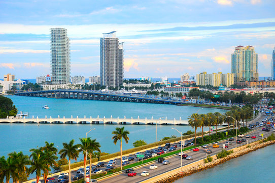 Miami panorama with car traffic. Aerial view Miami cityscape. Miami skyline. Miami city scape in day time, Florida USA
