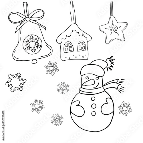 Christmas Celebration Images For Drawing.Set Of Vector Black And White Drawings On The Theme Of The