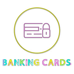 Wall Mural - Banking Cards Round Framed Color Line Design Icon