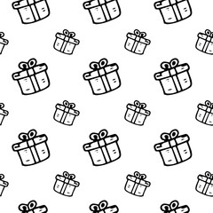 Seamless pattern hand drawn gift. Doodle black sketch. Sign symbol. Decoration element. Isolated on white background. Flat design. Vector illustration