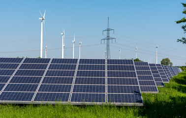 Wind turbines, electricity pylons and solar panels seen in Germany