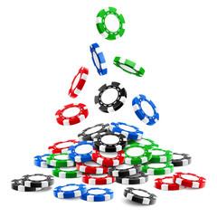 กองโทเค็นการพนัน 3 มิติหรือกองชิปคาสิโนจริงที่ตกลงมารูเล็ตเชิงปริมาตรและแบล็คแจ็คเงินโป๊กเกอร์กีฬาหรือเงินสด  เสี่ยงโชคและความสำเร็จผู้ชนะและโชคธีมความบันเทิง