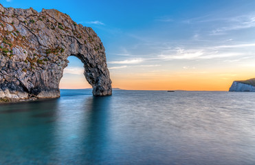 The Durdle door at the Jurassic Coast in Dorset after sunset