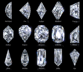Fifteen exotic and rare diamond cut shapes with titles isolated on black background. 3D illustration