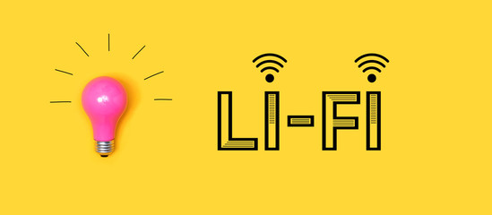 Wall Mural - Li-Fi wireless communication concept with a light bulb on a yellow background