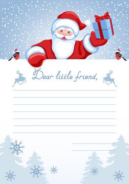 """Layout letter from Santa Claus with inscription """"Dear little friend"""" and Santa with Christmas gift box"""