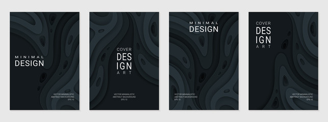 Set of four brochure, flyer or card; Abstract paper cut black background with wavy layers; Realistic carving art; Vector 3d template with place for text.
