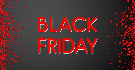Black friday sale promotion poster with red glossy confetti.