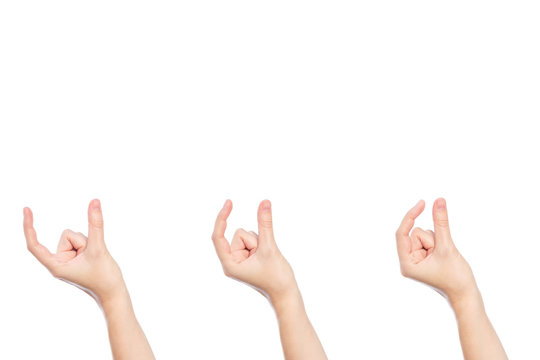 Set of woman hand show size gesture isolated on a white