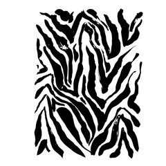Brush painted zebra pattern. Black and white stripes grunge background.