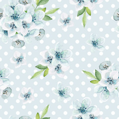 Seamless floral  pattern with  blue flowers. Watercolor hand drawn