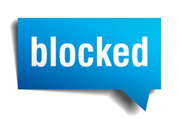 blocked blue 3d speech bubble