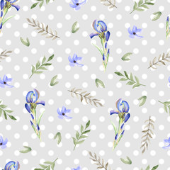 Seamless floral pattern with iris. Watercolor hand drawn