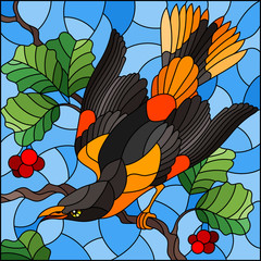 Illustration in the style of stained glass with a beautiful bright  bird  on a  background of branch of tree and sky