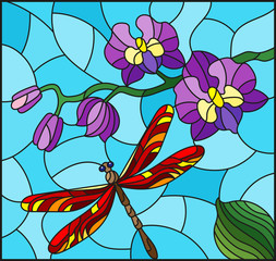 Illustration in stained glass style with a branch of purple  Orchid and red bright dragonfly on a blue background